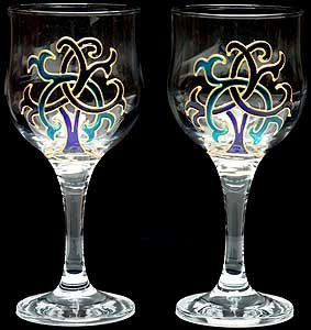 celtic glass designs set of 2 hand painted wine glasses