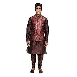 Favoroski Men Maroon Banarasi Jacquard Waistcoats