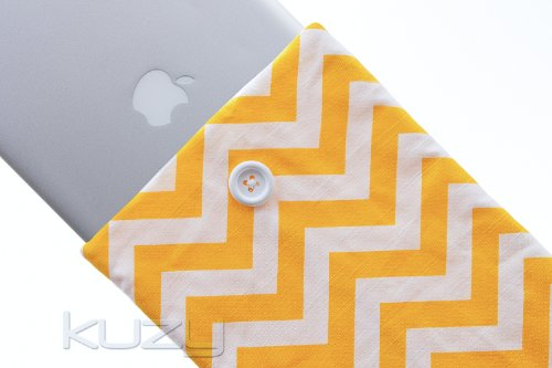 Kuzy - 15-inch YELLOW Chevron Cotton Sleeve Handmade Cover for MacBook Pro 15.4
