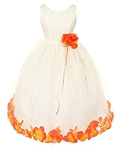 *Maillsa Satin/Tulle flower girl dress communion dress party dress with flowers and sash FG046