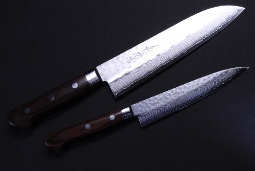 Hammered Damascus Chef Knife Santoku & Petty Set Yoshihiro Made In Japan