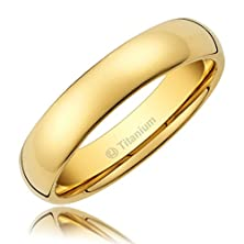 buy 3Mm Comfort Fit Titanium Wedding Band | 14 K Gold-Plated Engagement Ring With Polished Finish [Size 10.5]