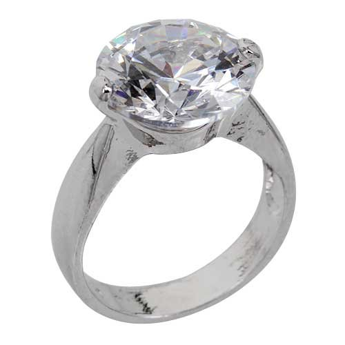Cubic Zirconia Round Cut Big Center Stone Solitaire Engagement Ring In 14k White Gold Filled-Size 6 By GemGem Jewelry