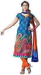 The Desi Attire Women's Bhagalpuri Silk Unsticthed Dress Material (2006_Blue_42)