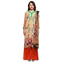 Bhelpuri Women Yellow and Black Crepe Dress Material
