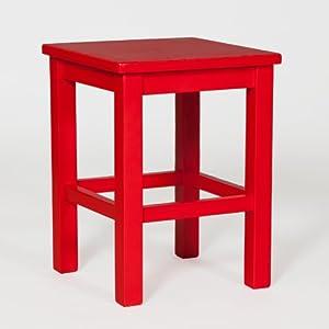 hocker sitzhocker massiv kiefer holz signal rot k che haushalt. Black Bedroom Furniture Sets. Home Design Ideas