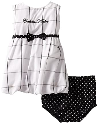 Calvin Klein Baby-Girls Infant Printed Dress with Panty, Black/White, 12 Months