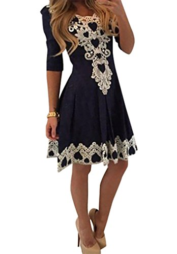 Baymate Frauen Schnüren V Ausschnitt Plissierten Kleid Spitze Kleider Halbe Hülse