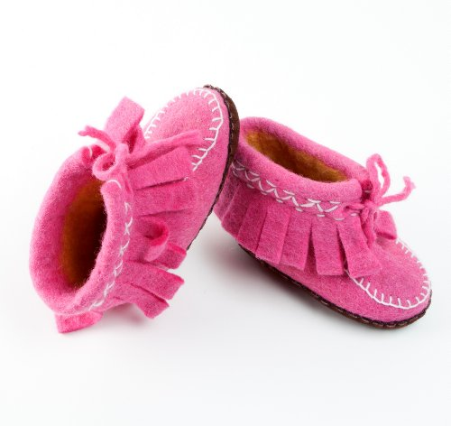 Peppercorn Kids Girls Indoor Boot Slippers - Pink / Felted Wool