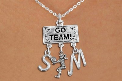 Pendant With Bump & Personalized Initial Charms On Lobster Clasp Necklace