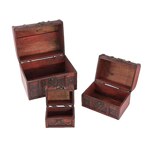 Valdler Antique Wooden Embossed Flower Pattern Jewelry Box Storage Organizer Pack of 3