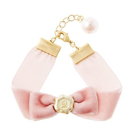 Q-pot Braccialetto con nastro decorativo e piume, colore: rosa, dal Giappone