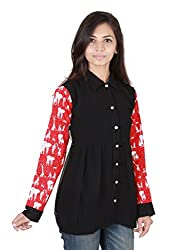 Ethnic For You Z Black Georgette And Umbrella Print Shirt