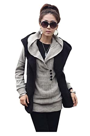 CA Fashion Womens Long Top Knitting Sweater Hooded Hoodie Solid Knitwear (Gray)