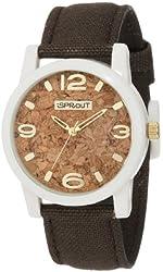 Sprout Men's ST/5511CKBN Organic Cork Dial Brown Cotton Strap Corn Resin Watch