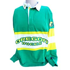 NCAA Oregon Ducks Mens Panel Rugby Shirt, Green Yellow by Donegal Bay