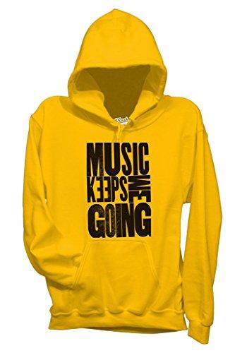Felpa MUSIC KEEPS ME GOING - MUSIC by MUSH Dress Your Style - Bambino-XL-GIALLA