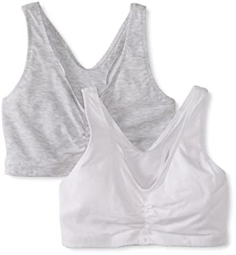 Hanes Women's 2 Pack Cotton Pullover Bra, Heather Grey/White, Small(Colors may vary)