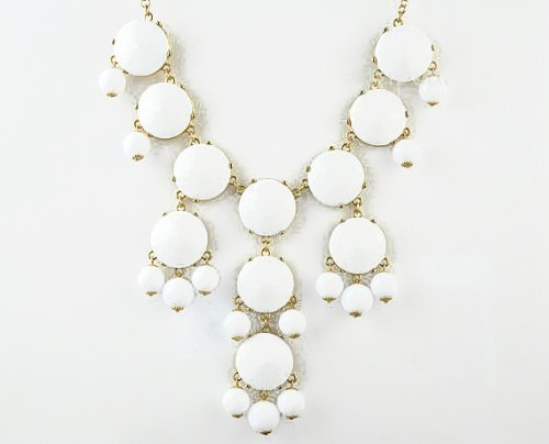 Bubble Necklace, White Necklace, Statement Necklace (Fn0508-Pure White)