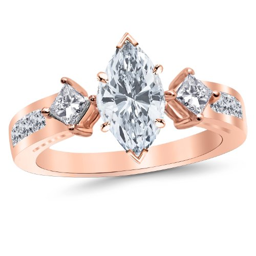 Rose Gold 3 Stone Channel Set Princess Cut Diamond Engagement Ring With A 1.01 Carat Marquise Cut J Color Vs2 Clarity Center Stone