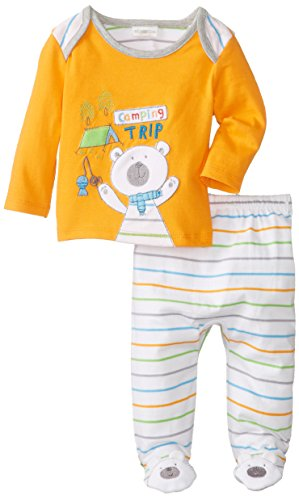 ABSORBA Babys Newborn B Camping Trip Footed Pant Set, Orange, 3-6 Months