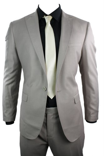 Mens Slim Fit Beige Suit Stitch Design Lapels 1 Button Office, Wedding or Party