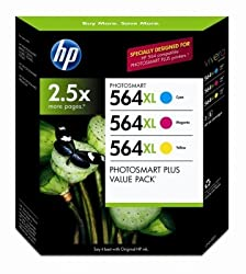 HP 564XL High Capacity XL Cartridges Combo Pack (1 Cyan, 1 Magenta, 1 Yellow)