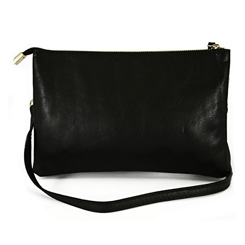 Pochette In Vera Pelle Con 2 Scomparti Colore Nero - Pelletteria Toscana Made In Italy - Borsa Donna