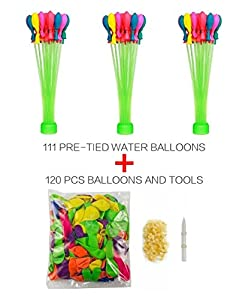 Kemuse 3 Bunches of 111 Self Tie Water Balloons with Refill Kit Includes 1pcs Supplementary package (120pcs Balloons and tools)- Kids Toy Game