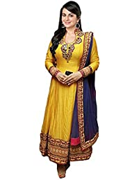 Clickedia Women Faux Georgette Embroidered Yellow & Blue Salwaar Suit Dupatta - Dress Material