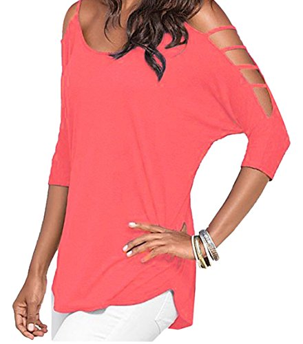 DH-MS Dress Women's Watermelon Red Strappy Cold Shoulder Top
