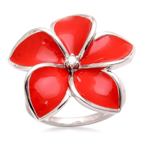 Jewelili Sterling Silver with Red Enamel Diamond Flower Ring (0.05 Cttw, IJ Colour, I2/I3 Clarity), Size 7