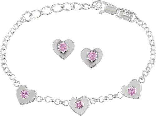 Silver CZ Heart Charm Bracelet and Earrings Set