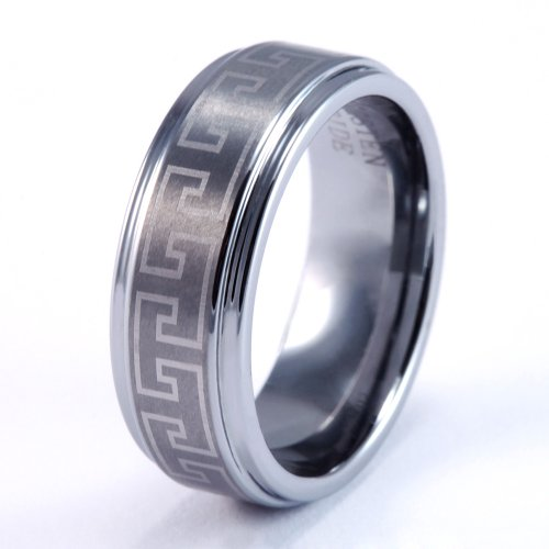 8Mm Mens / Woman'S Tungsten Carbide Wedding Band / Ring With Laser Engraved Greek Design