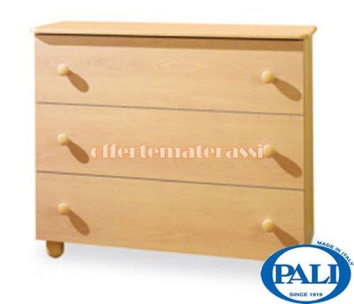 Como Pali Eco naturale in legno 3 cassetti infanzia arredamento cameretta (legno naturale)