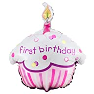 Girl's Lil' Cupcake 1st Birthday 18″ Foil Balloon