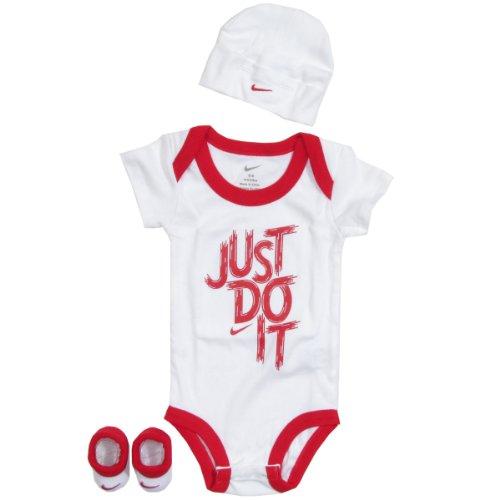Nike Baby 3 Piece Brush Stroke One Piece Outfit Set (0-6 months) White, 0-6 Months