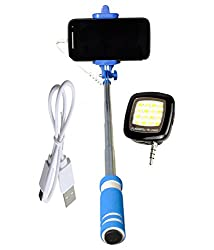 Novo Style Mini Pocket Selfie Stick with Aux cable - Blue with 16 LED Selfie Night Flash Light Accessory Combo