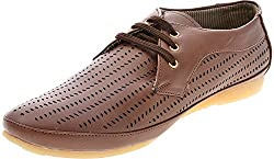 Horserider Mens Brown Cotton Lace-Up Flats - 7 UK