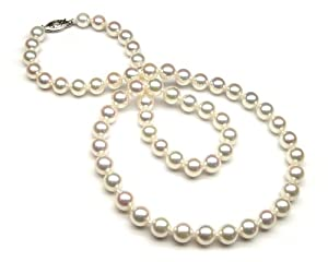 "36"" AAA Akoya Cultured Pearl Necklace 6.5x7mm with 14K White Gold Clasp"
