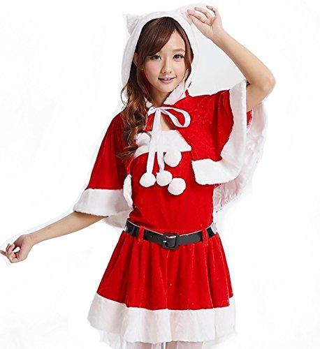 サンタクロース 衣装5点セット (ネコ耳フーディーショール、トップス、スカート、レッグカバー、ベルト) コスチューム レディース フリーサイズ