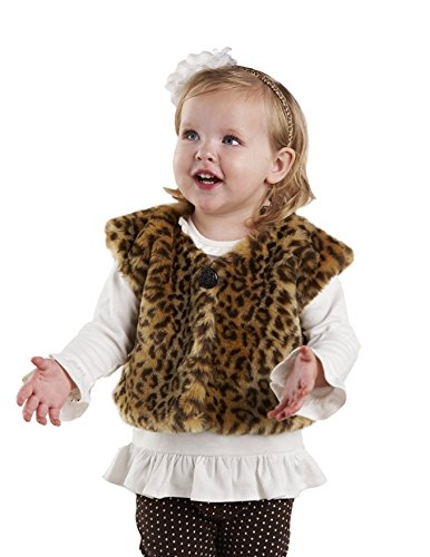 Mud Pie Baby Girls' Leopard Faux Fur Vest, Multi Colored, 12 18 Months (Mud Pie Girl 18 Months compare prices)