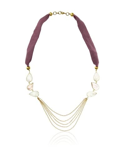 Saachi Multi Stone Necklace with Chains and Silk