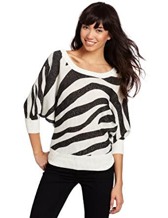 XOXO Juniors Zebra Printed Button Back Sweater, Ivory, Large