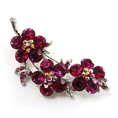 Swarovski Crystal Floral Brooch (Silver&Cranberry)
