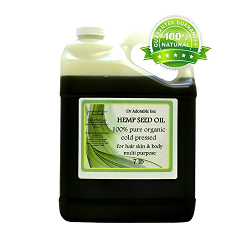 Hemp Seed Oil Pure Organic Cold Pressed by Dr.Adorable 128 fl. oz/1 Gallon/7 Lb