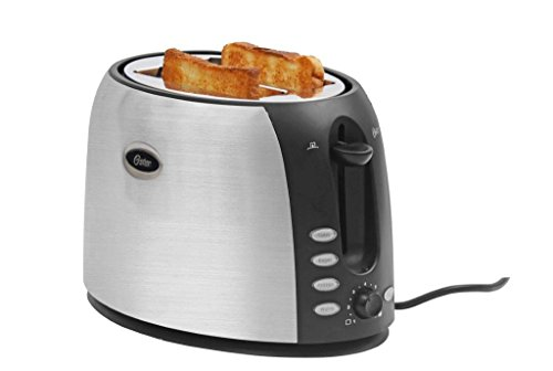 Oster TSSTJC5BBK 800-Watt 2-Slice Pop-up Toaster (Black/Steel Finish)