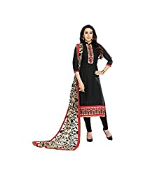 S P Marketing Black Cotton Embroidered Semi-stitched Salwar Suit Dupatta Material