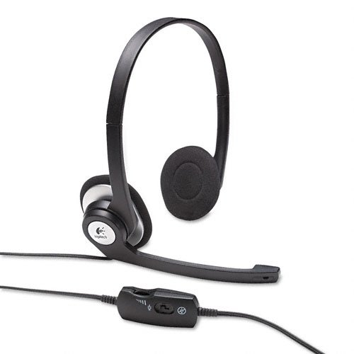 Logitech Products – Logitech – ClearChat Binaural Behind-the-Ear PC Audio Headset – Sold As 1 Each – Noise canceling microphone. – Rotating, flexible microphone boom. – In-line volume/mute controls; LED mute indicator. – Adjustable, padded headband; plush ear pads. – High-quality, integrated drivers. image