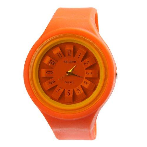 Yesurprise Candy Flower Dial Silicone Band Jelly Ladies Men Quartz Wrist Watch Orange